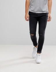 Bershka Super Skinny Jeans With Rips In Black - Black