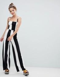 Bershka wide stripe jumpsuit in mono - Multi