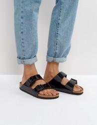 Birkenstock Arizona Birko Black Patent Flat Sandals - Black