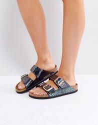 Birkenstock Arizona Birko Shiny Snake Narrow Fit Flat Sandals - Black