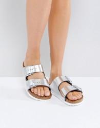 Birkenstock Arizona Metallic Silver Leather Flat Sandals - Silver