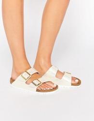 Birkenstock Arizona Narrow Fit Shiny Snake Cream Flat Sandals - Cream
