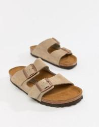 Birkenstock Arizona Taupe Suede Narrow Fit Flat Sandals - Beige
