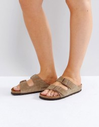 Birkenstock Arizona Taupe Suede Narrow Fit Flat Sandals - Stone