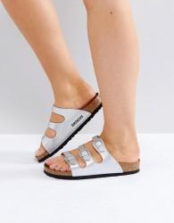 Birkenstock Florida Birko Silver Flat Sandals - Silver