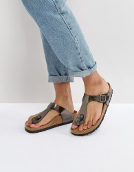 Birkenstock Gizeh Metallic Anthracite Leather Narrow Fit Flat Sandals - Silver