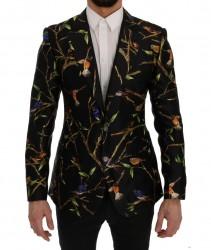 Black Bird Print Silk Slim Fit Blazer Jacket
