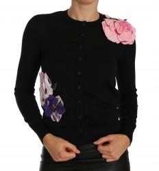 Black Cashmere Cardigan Floral Sweater