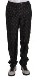 Black Dotted Silk Lounge Sleepwear Pants