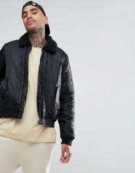 Black Kaviar Bomber Jacket In Black With Borg Collar - Black