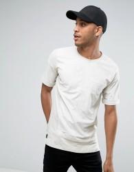 Black Kaviar Oversized Suedette T-Shirt With Big Pocket - Beige