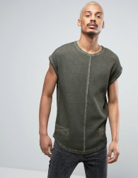 Black Kaviar Sleeveless T-Shirt In Green Overdye - Green