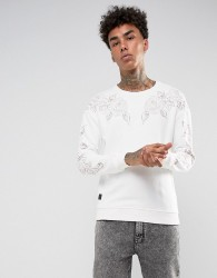 Black Kaviar Sweatshirt In Stone With Rose Embroidery - Stone