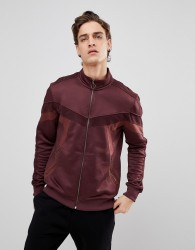 Black Kaviar Track Jacket In Burgundy With Velour Taping - Red