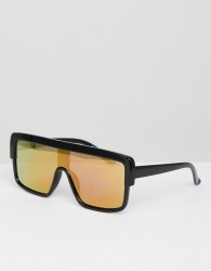 Black Phoenix Square Frame Flat Top Sunglasses - Black