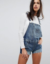 Blank NYC Dungaree Shorts With Contrast Side Panel - Blue