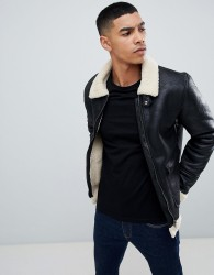 Blend aviator jacket in black faux leather with borg collar - Black