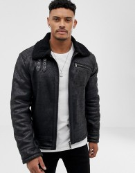 Blend aviator jacket in faux leather with borg collar - Black