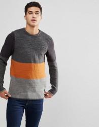 Blend Block Stripe Jumper - Grey