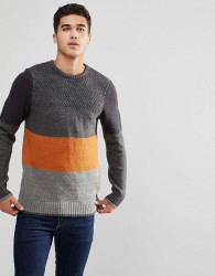 Blend Block Stripe Jumper - Grey