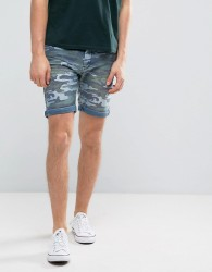Blend Camo Denim Short - Blue