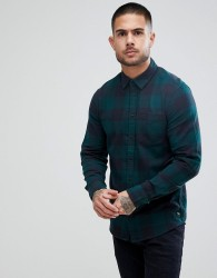 Blend Check Shirt in Pine Green - Green