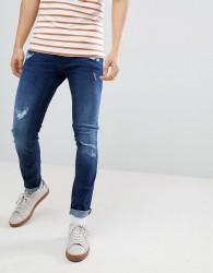 Blend Cirrus Distressed Skinny Jeans Darkwash - Navy