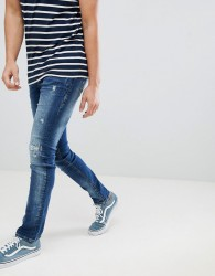 Blend cirrus distressed skinny jeans in mid wash blue - Blue