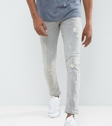 Blend Cirrus Skinny Fit Jean Ripped Light Grey Wash - Grey