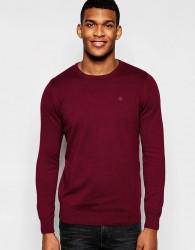 Blend Crew Knit Jumper Slim Fit in Burgundy - Red