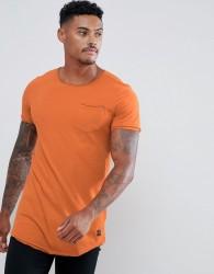 Blend curved hem pocket t-shirt - Orange