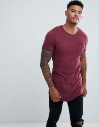 Blend curved hem pocket t-shirt - Red