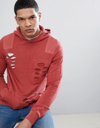 Blend Distressed Red Hoodie - Red