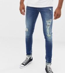 Blend distressed super skinny jeans in dark wash - Blue