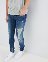Blend distressed super skinny jeans in dark wash - Blue