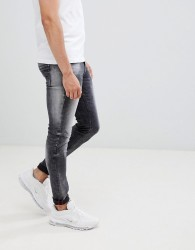 Blend distressed super skinny jeans in washed black - Black