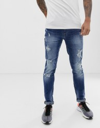Blend echo skinny fit jean in mid blue wash - Blue