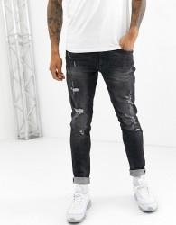 Blend echo tapered fit jean in washed black - Black