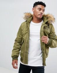 Blend faux fur hooded bomber jacket - Green