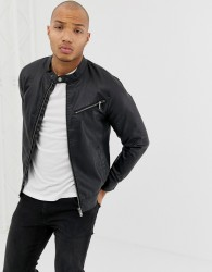 Blend faux leather racer jacket in black with zip detail - Black