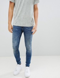 Blend Flurry Distressed Muscle Fit Jeans in Authentic Wash - Blue