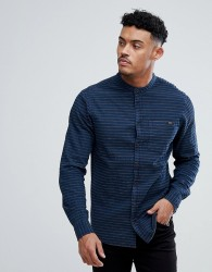 Blend Grandad Collar Shirt with Tonal Stripes - Navy
