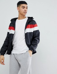 Blend Hooded Jacket with Stripe Chest - Black