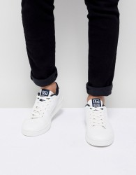 Blend Leather Look Logo Trainers - White