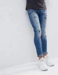 Blend Lunar Light Wash Distressed Super Skinny Jeans - Blue