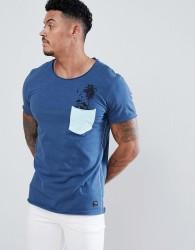 Blend palm tree pocket t-shirt in blue - Blue