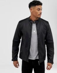 Blend racer jacket in black faux leather - Black