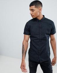 Blend short sleeve slim fit shirt with micro dot print - Black