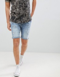 Blend skinny denim shorts with distressing - Blue