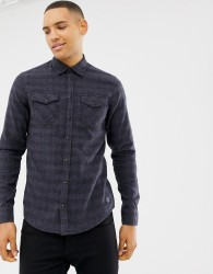 Blend slim fit check shirt in blue - Blue